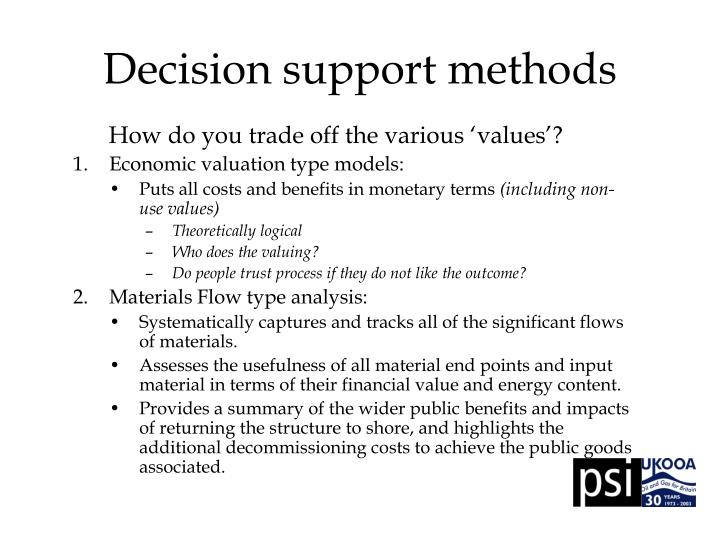 Decision support methods