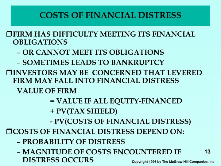 COSTS OF FINANCIAL DISTRESS
