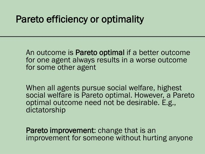 Pareto efficiency or optimality