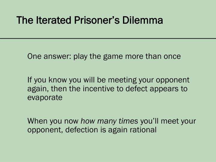 The Iterated Prisoner's Dilemma