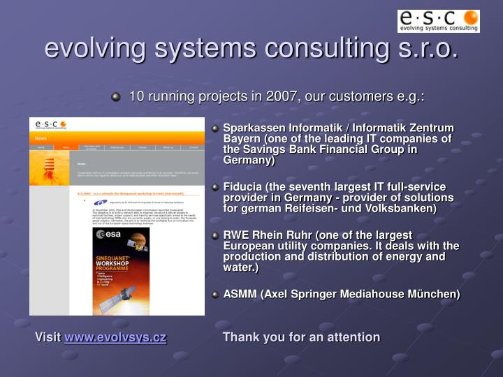 evolving systems consulting s.r.o.