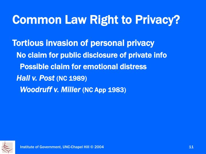 Common Law Right to Privacy?