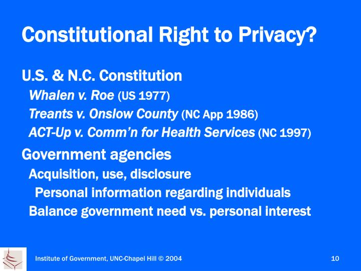 Constitutional Right to Privacy?