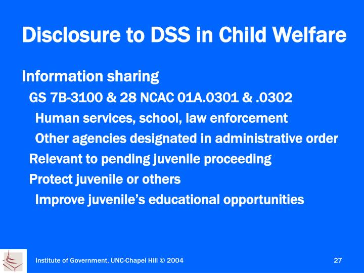 Disclosure to DSS in Child Welfare