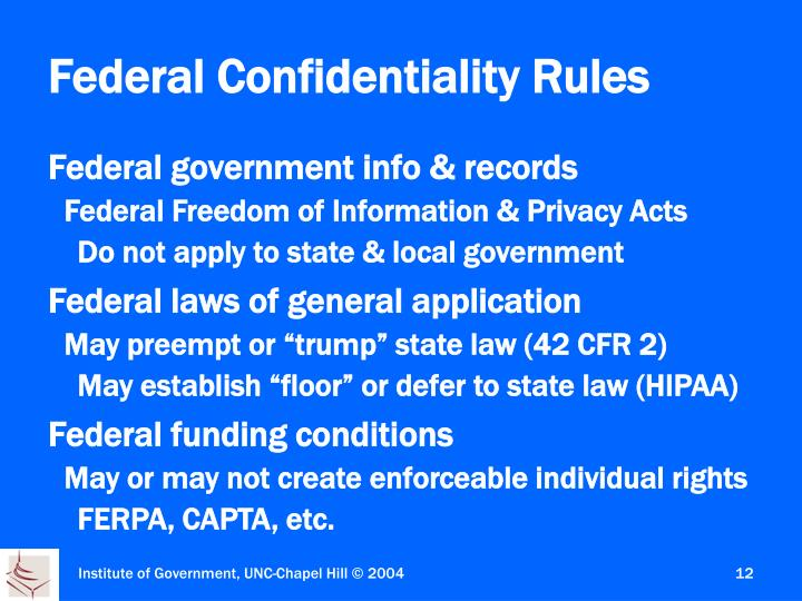 Federal Confidentiality Rules