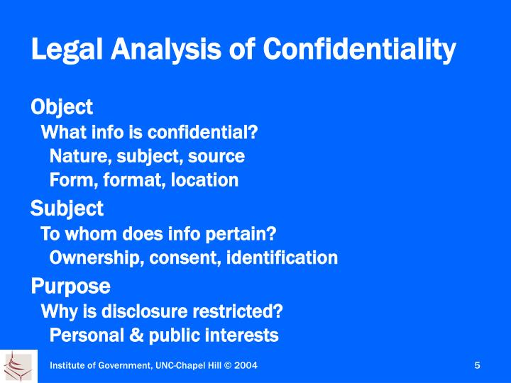 Legal Analysis of Confidentiality