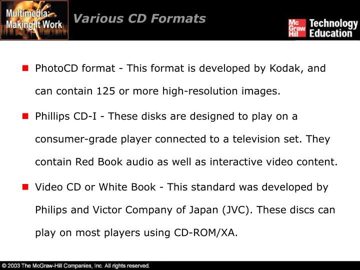 Various CD Formats