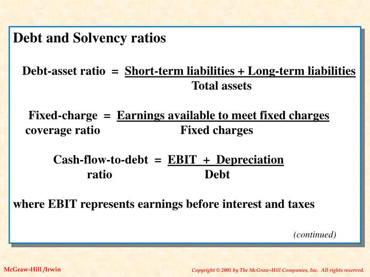 Debt and Solvency ratios