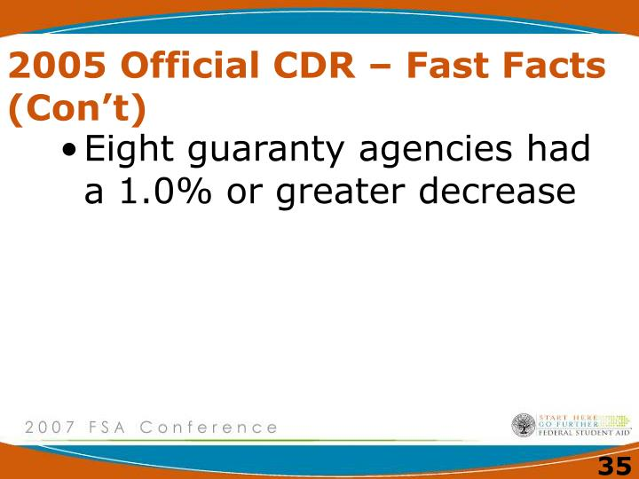 2005 Official CDR – Fast Facts (Con't)