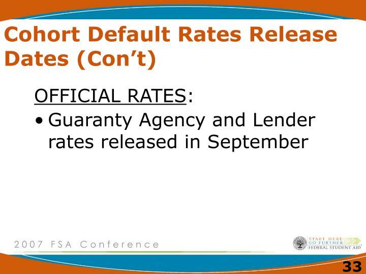 Cohort Default Rates Release Dates (Con't)