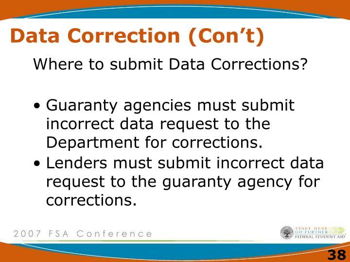 Data Correction (Con't)