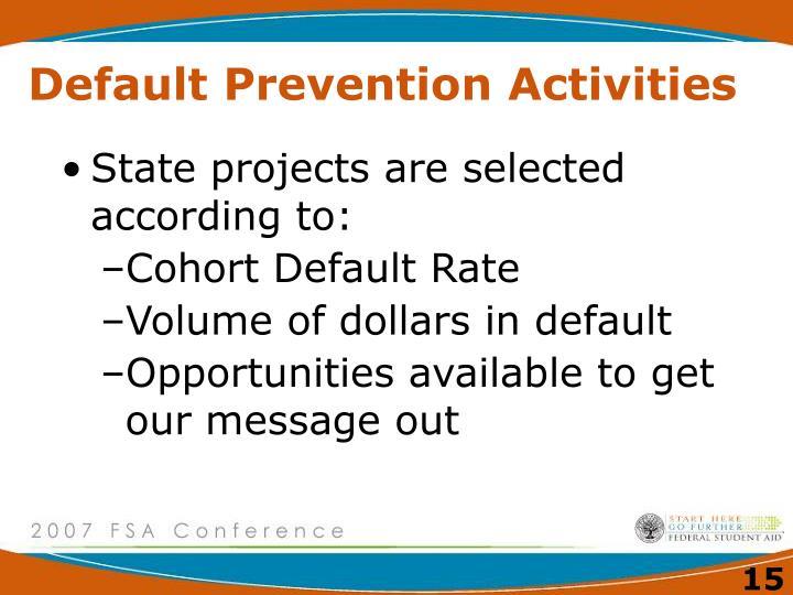Default Prevention Activities