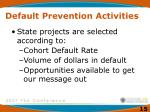 default prevention activities