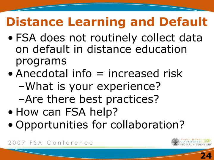 Distance Learning and Default