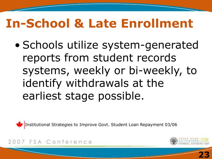 Institutional Strategies to Improve Govt. Student Loan Repayment 03/06