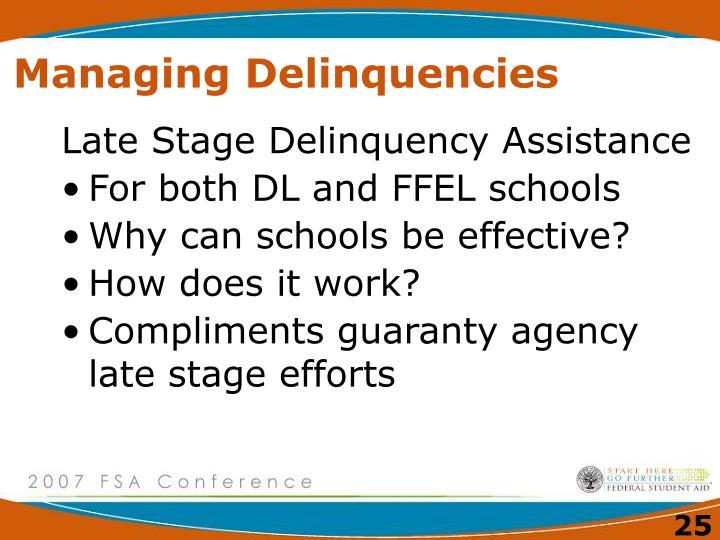 Managing Delinquencies