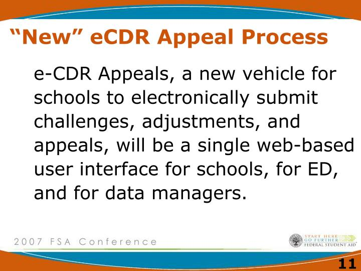 """New"" eCDR Appeal Process"