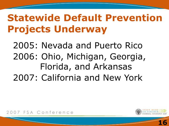 Statewide Default Prevention Projects Underway