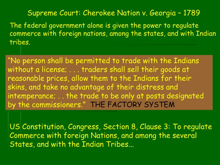 Supreme Court: Cherokee Nation v. Georgia – 1789