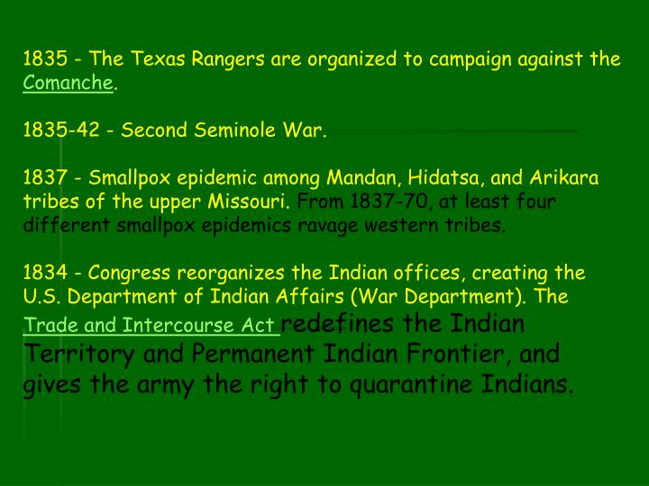 1835 - The Texas Rangers are organized to campaign against the