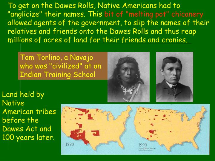"To get on the Dawes Rolls, Native Americans had to ""anglicize"" their names. This"
