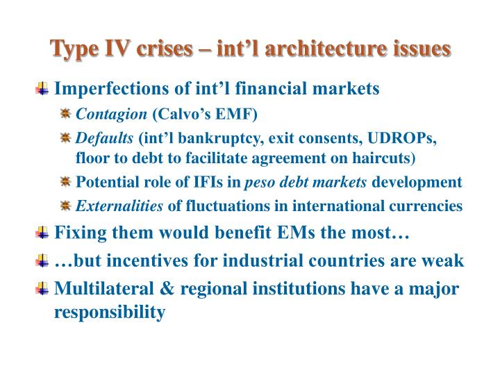 Type IV crises – int'l architecture issues