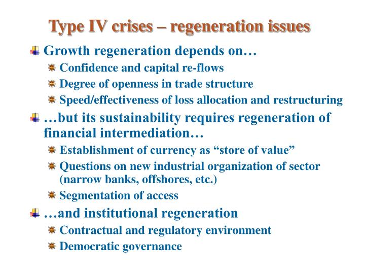 Type IV crises – regeneration issues