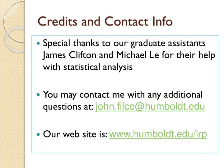Credits and Contact Info