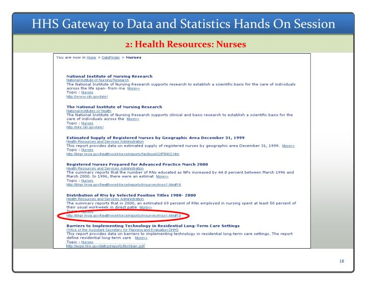 HHS Gateway to Data and Statistics Hands On Session
