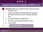 assess financial feasibility of bhp cont