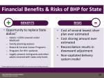 financial benefits risks of bhp for state