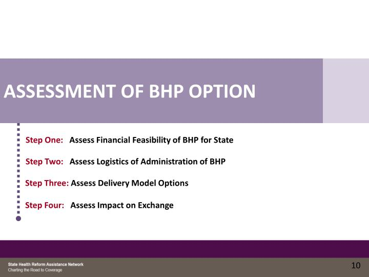 ASSESSMENT OF BHP OPTION