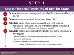 step one assess financial feasibility of bhp for state