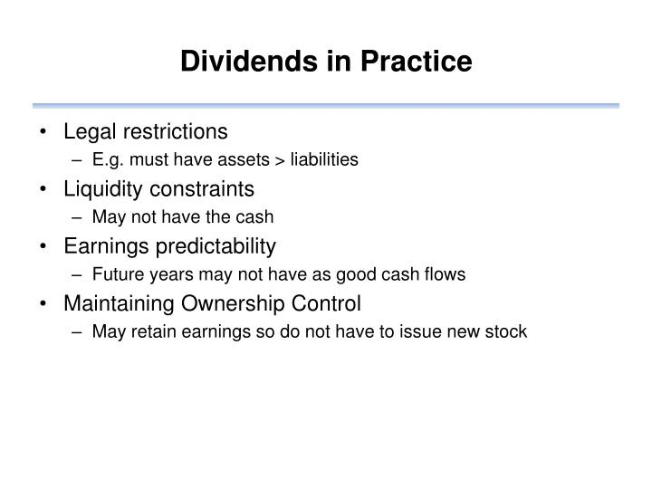 Dividends in Practice