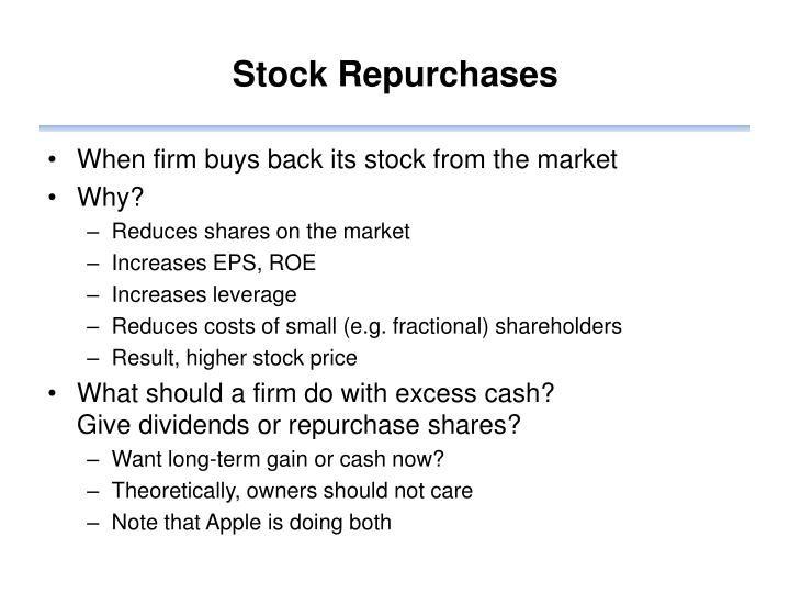 Stock Repurchases