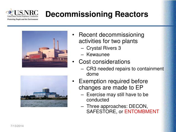 Decommissioning Reactors