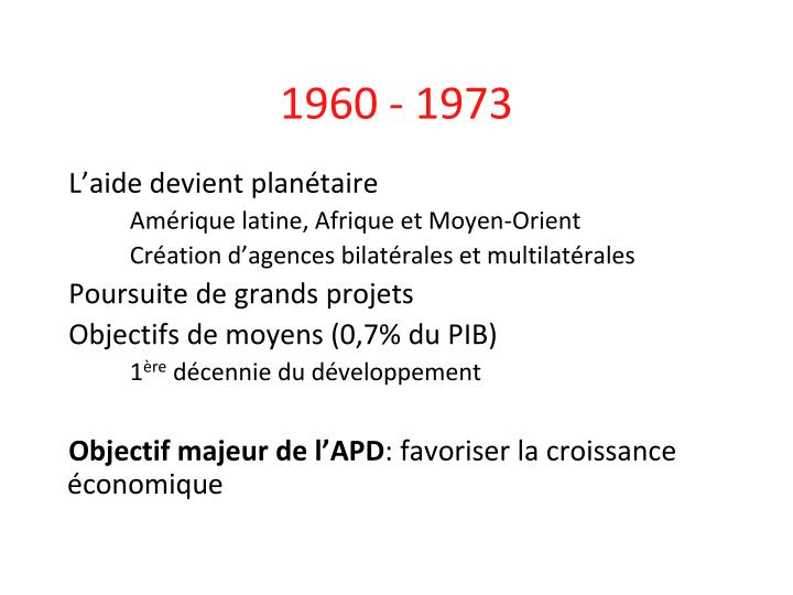 1960 - 1973