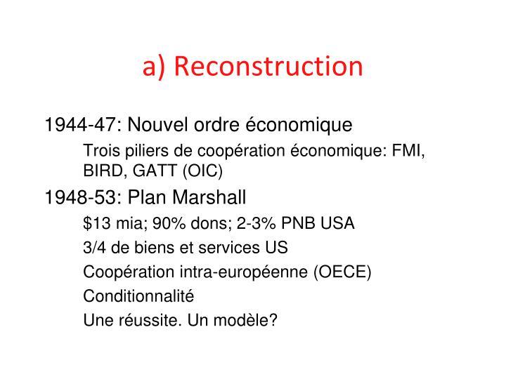 a) Reconstruction