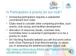 is participation a priority for our club