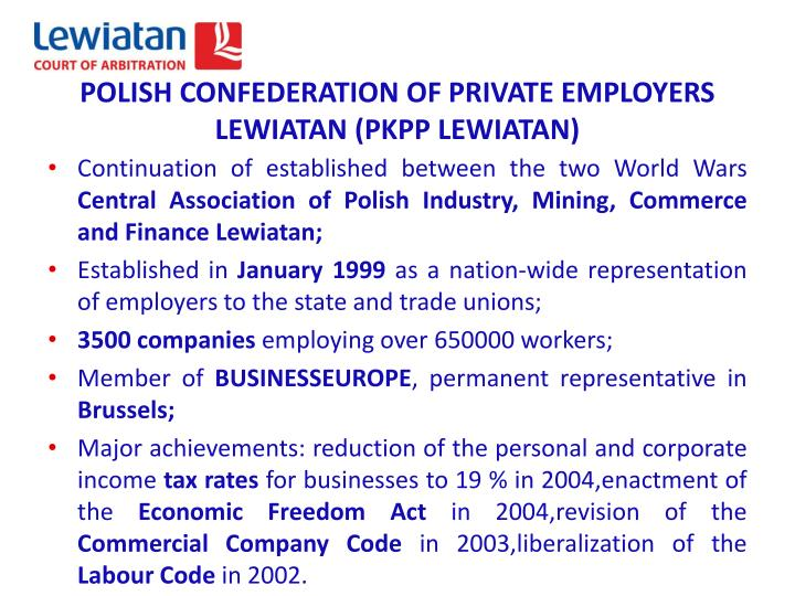 POLISH CONFEDERATION OF PRIVATE EMPLOYERS LEWIATAN (PKPP LEWIATAN)