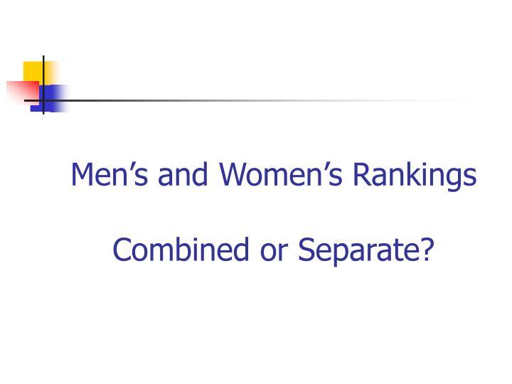 Men's and Women's Rankings
