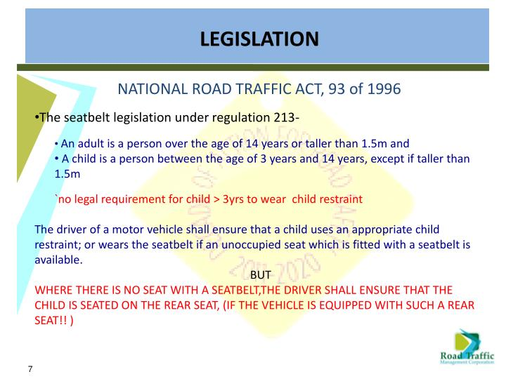 NATIONAL ROAD TRAFFIC ACT, 93 of 1996