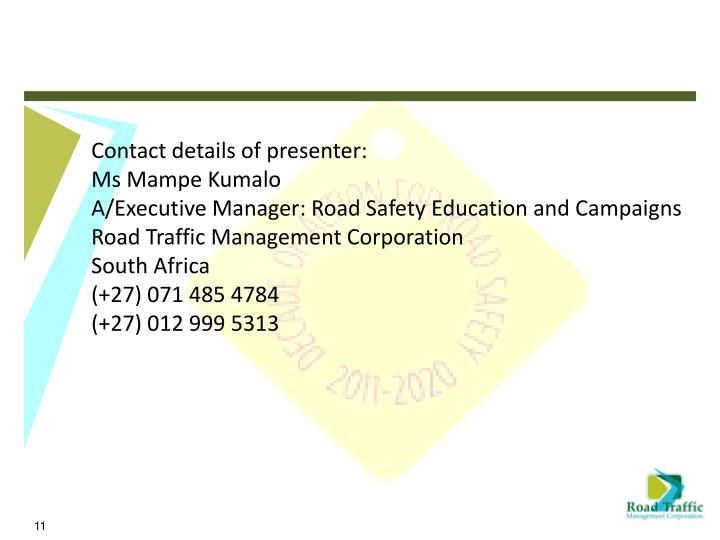 Contact details of presenter: