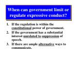 when can government limit or regulate expressive conduct