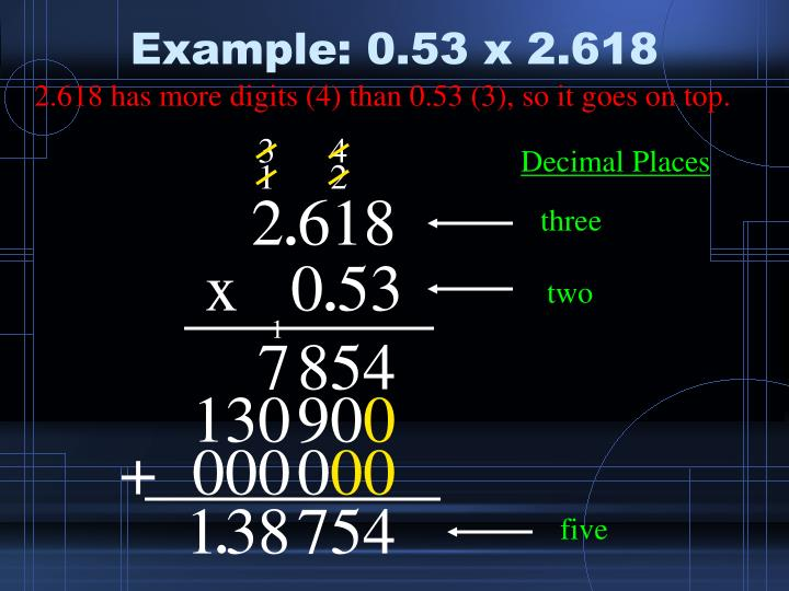 Example: 0.53 x 2.618