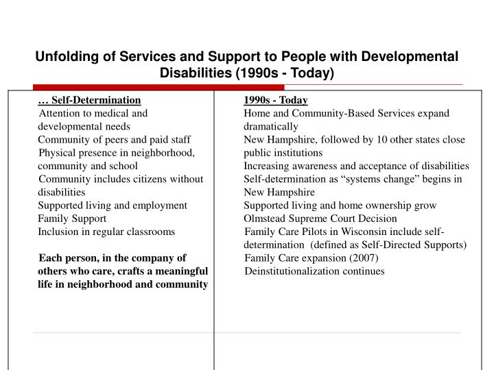 Unfolding of Services and Support to People with Developmental Disabilities (1990s - Today)
