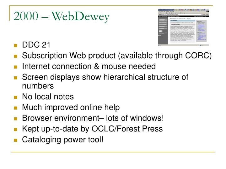 2000 – WebDewey