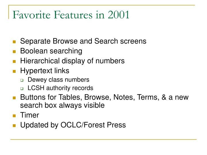 Favorite Features in 2001