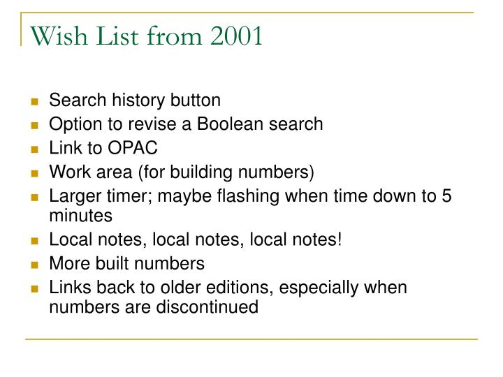 Wish List from 2001