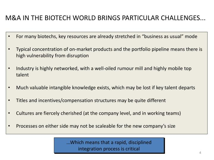 M&A IN THE BIOTECH WORLD BRINGS PARTICULAR CHALLENGES...